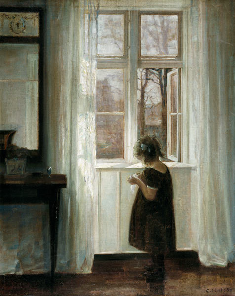 poboh:  Little girl at a window,  Carl Holsoe.  Danish (1863-1935)