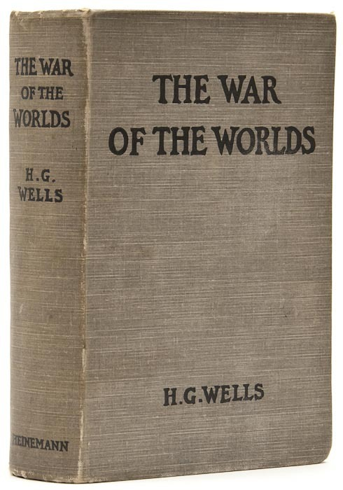 Wells (H.G.) The War of the Worlds   First edition, 16 pp. advertisments at end, dated 1897, occasional spotting, book label of Samuel Gurnery on paste-down and name on free endpaper, original grey cloth, little rubbed, ends of spine knocked, 8vo, 1898.
