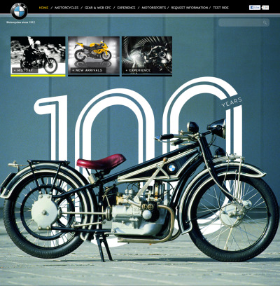 website design for BMW Motorcycles