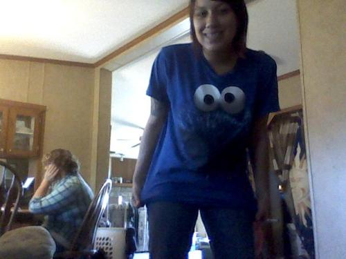 check out my boyfriends cookie monster shirt! (and my little brother in the back!)