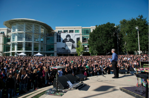 Tim Cook at the Steve Jobs memorial celebration
