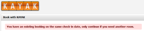 Kayak - Gives a warning if you try to book a hotel for a check-in date that coincides with your existing reservation.