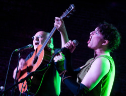 "photo by Bob Eddy - Amanda Palmer + Peter Yarrow (of Peter, Paul and Mary) at the ""I Vermont NY"" benefit in Brooklyn"