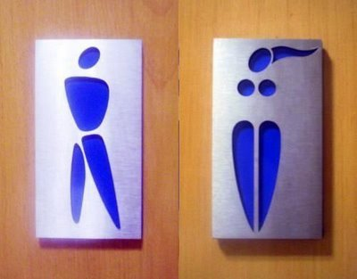 Interesting article on how gender is constructed when it comes to bathroom signs here.