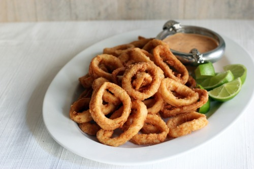 Calamari Rings with Lime Chili Mayonaise