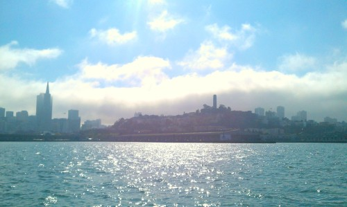 Transamerica Pyramid and Coit Tower.