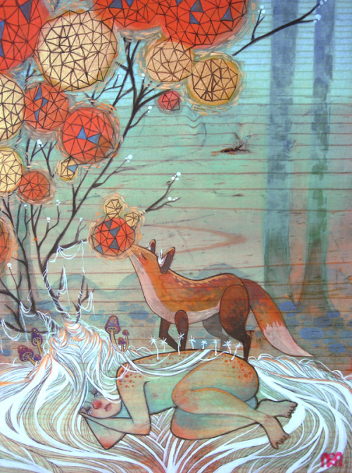 "melhoneycat:  Albina's Condition by Mai K. N. ""Acrylic and Gouache on Wood Panel"