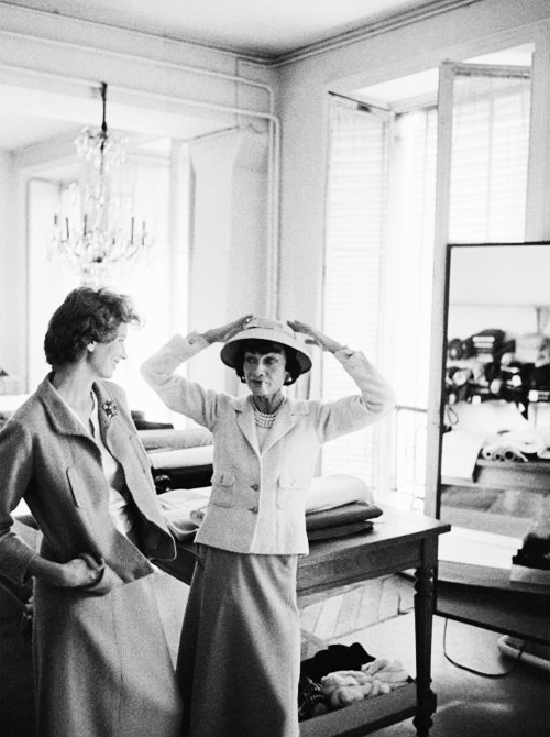 Coco Chanel & Suzy Parker during a fitting at the Chanel atelier photographed by Mark Shaw for Life Magazine, 1957.