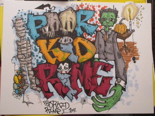 Poor Kid/Rime…Ink and marker on bristol..
