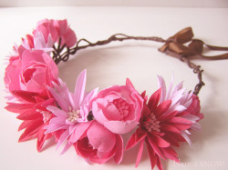Wild flowers garland, with hand dyed, cut and shaped flowers. by bianca snow.