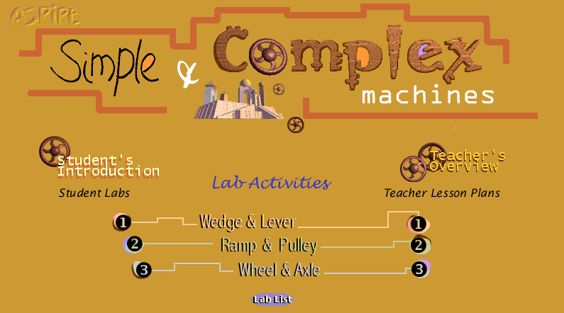 "Excellent interactive resource for teaching Simple and Complex Machines from Aspire. #elemchat #spedchat #scichat #machines Includes interactives, lesson plans, and printable lab packets. Make sure you check out their ""New Machines Lab"" (beta) (screenshot below) for an updated version.  Interested in more interactives from Aspire? Click here. Added to my  Sensational Science Sites"