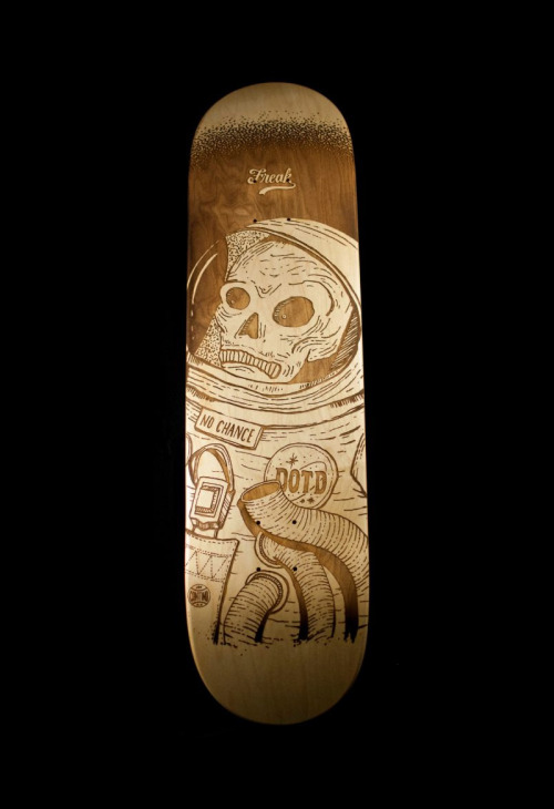 "joncontino:  Custom laser-engraved skate deck for AIGA Salt Lake City's ""Dawn of the Deck"" show. Check out more here and bid on the deck to help out!"
