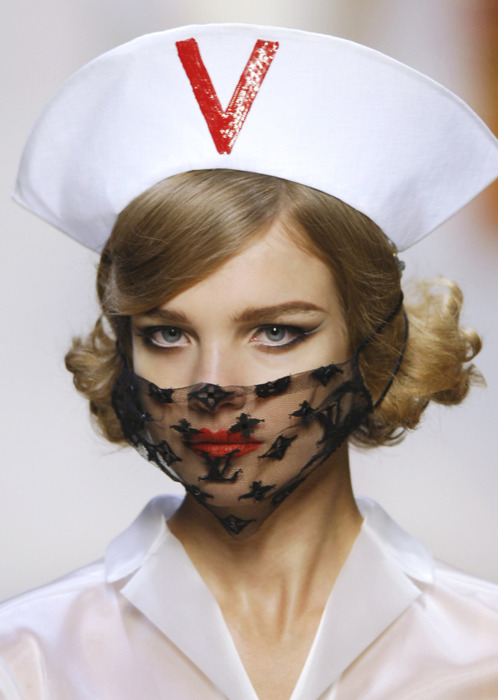 morbidfashion:  I love those Louis Vuitton lace face masks.