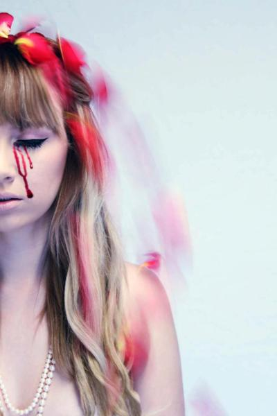 A photo from a shoot today that my friend did for school! I had fake blood on me and rose petals hitting me on the head. It was lovely :3