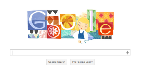 "jerriann:    Google celebrates Disney artist with tribute art   It's an image that could be titled: ""Lady and the Stamp."" Because Mary Blair left her influential stamp of artistry on whatever she set her mind and hand to.  Today, Google celebrates the 100th birthday of the late Disney artist, who lent her colorful style to such immortal '50s animated films as ""Alice in Wonderland,"" ""Cinderella"" and ""Peter Pan."""
