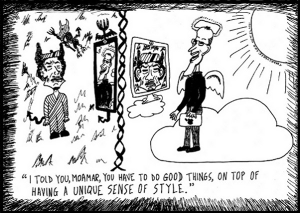 Gadaffy in Hell Jobs in Heaven editorial cartoon and top ten dead styles jokes by laughzilla for the daily dose.