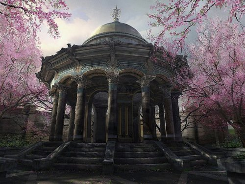 fantasyinphotos:  An old gazebo surrounded by cherry trees in bloom