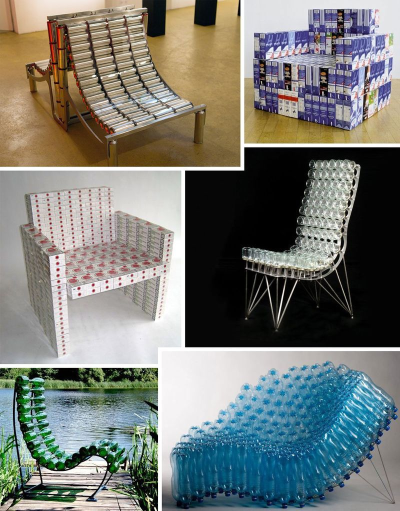 unconsumption:  6 Chairs Made from Packages - box vox  — i like the blue one in the bottom right..