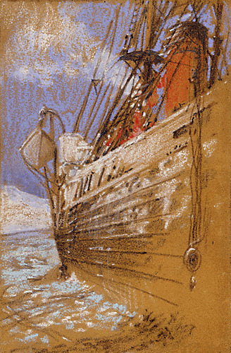 Dated October 25, 1901, this is a pastel and chalk rendering of the steam yacht America by Russell Williams Porter, an artist and surveyor for the the Baldwin-Ziegler Polar Expedition of 1901.  The America would later be crushed by pack ice during the subsequent Fiala-Ziegler Expedition of 1903.A  veteran of six Arctic trips between 1894 and 1903, Russell W. Porter  left behind an impressive collection of paintings, drawings, notebooks,  journals, and correspondence.