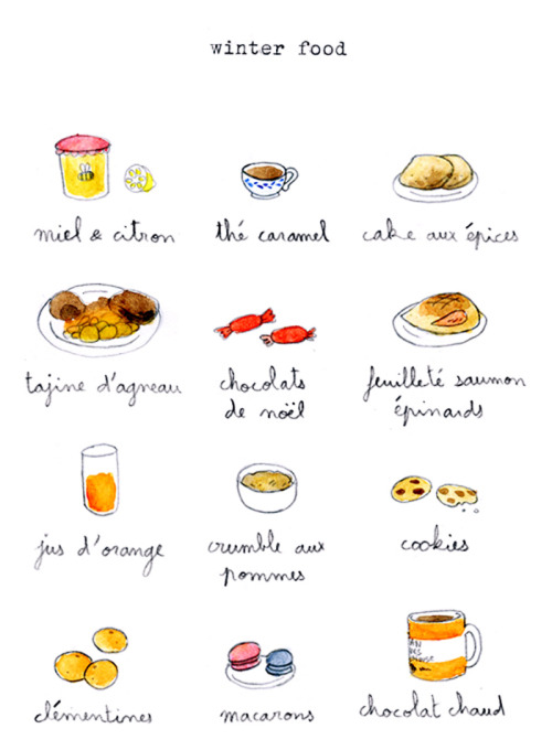 French winter foods. Translation: yum.