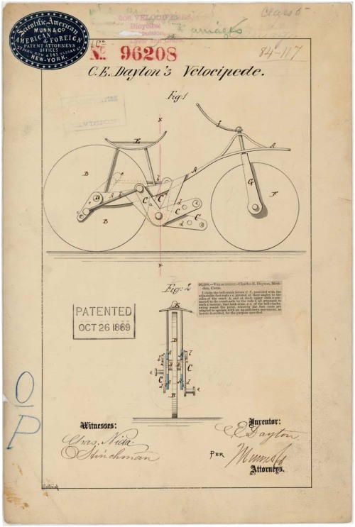 todaysdocument:  C. E. Dayton's Velocipede, Patented Oct. 26, 1869