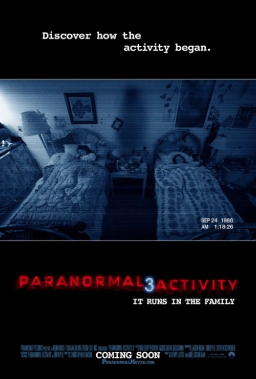 The Movie Schmovie Movie Podcast Review Of Paranormal Activity III. Episode 016 is a review of Henry Joost and Ariel Schulman's PARANORMAL ACTIVITY 3 (Lauren Bittner and Christopher Nicholas Smith). DVD Quick Pick review of POLTERGEIST and REC 2.).  1. Click the Play button above. Get the MP3 of the Podcast here  2. Click the logo below to subscribe to Movie Schmovie on Itunes  3. If you have another Podcast App, the XML file is here. Right click it to download it!