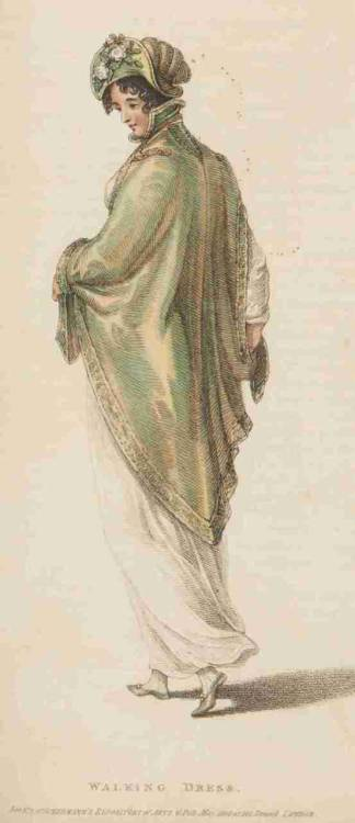 Ackermann's Repository, Walking Dress, May 1809.  Oh that fabric- it is so beautiful and beautifully captured.  And she has a lovely bonnet, as well!