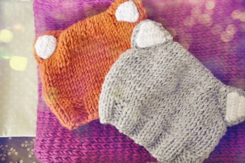 Fox and kitty knit-hats