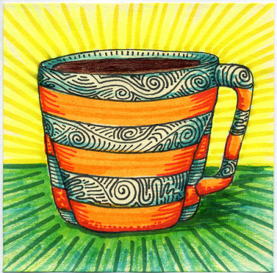 "I drew you another decorative mug of coffee It has been a year since I started drawing these little coffee drawing. Happy 1 year Anniversary to the Series.Hope you like them. This is part of my ""The Daily Coffee"" marker drawing series."