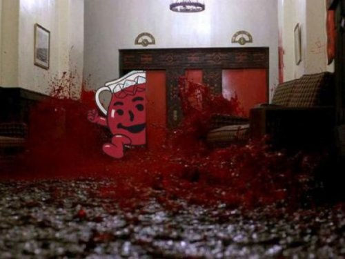 "collegehumor:  Kool-Aid Man Crashes Into The Shining His delivery of ""Oh Yeah!"" is exactly like Jack Nicholson's ""Here's Johnny."""