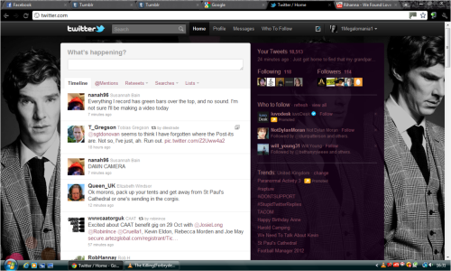 Twitter Theme How to install: Save the image, located here Log in to Twitter Go to Settings Go to Design Click on Change Background Image and upload the image Click on Change Design Colours Background = 000000 Text = ba8589 Links = 924f63 Sidebar = 170218 Sidebar Border = aa787e Save Changes