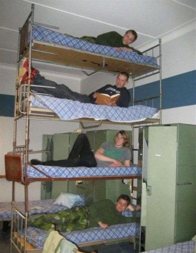 collegehumor:  Extremely Bunked Beds They use a similar formation with the bathroom toilets.  I would be afraid sleeping on the last bunk reminds me of what happen to the step brothers (from the movie step brothers with will ferrel)