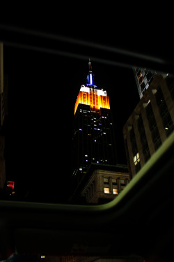 A photo I took of the Empire State building on the night I arrived in New York, out the sun roof.
