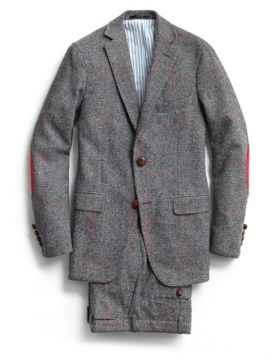 "GQ Selects: Gant by Michael Bastian Suit ""This is another example of Michael Bastian's genius. He takes something incredibly traditional: Glen plaid, heavy Harris tweed, and shoots this red windowpane through and gives it red corduroy elbow patches. He loves the geezer-ness of traditional clothing. ""—GQ creative director Jim Moore More GQ Selects here."