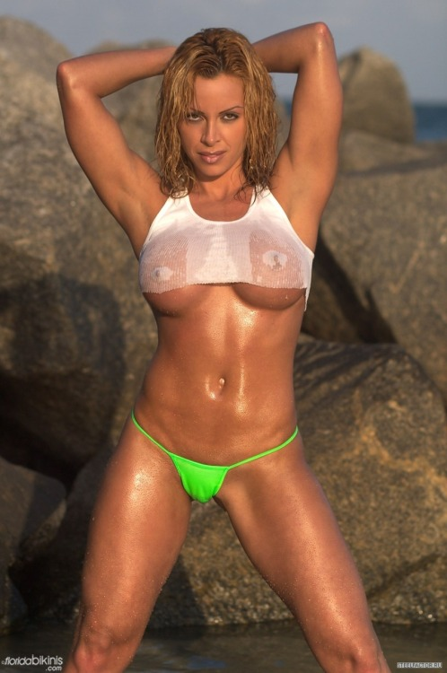 Ava Cowan - oiled up at the beach