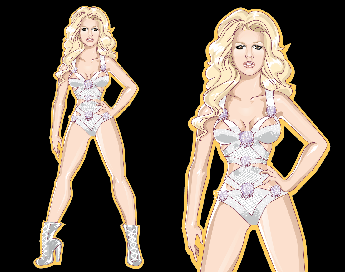 Britney SpearsThe Femme Fatale Tour T-Shirt Illustration Design