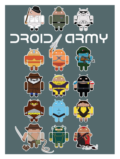 "#droidarmy The complete Maclac Squadron of the Droid Army.  I fancy putting them together on an iPhone case and a mini stickers but, for now, prints available at society6 (any ""promotes"" you guys fancy throwing its way are appreciated)  Also, can you name em all (bonus points for the ""Droid-theme"" names)"