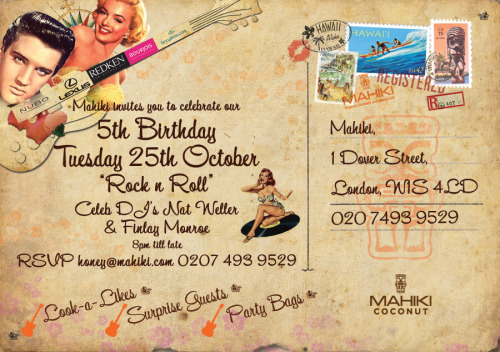 Aloha Tiki lovers! Mahiki's 5th Birthday is soon approaching and the lucky winner of the Mahiki/Lexus birthday competition has finally been announced as Luke Prendergast. I wish him a scrumptious evening at Markham Inn before joining me for the celebrations at everybody's favourite polynesian paradise!!