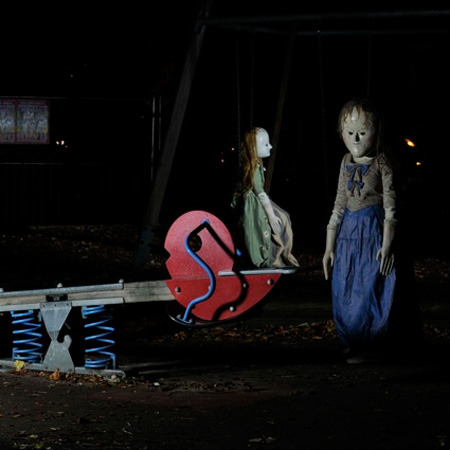 "Doctor Who ""Night Terrors"" Peg Dolls invade London park 'Doctor Who' monsters have invaded London. The creepy Peg Dolls - which appeared in the episode 'Night  Terrors' - were spotted at Brook Green Children's Playground in the  capital yesterday (19.10.11) eerily riding on the seesaw in the middle  of the night. The monsters stopped off at the playground on their way to their  new home at the 'Doctor Who Experience' at London's Olympia where they  will be joining the Time Lord's other adversaries in the exhibition  section of the attraction in time for half-term week and Halloween  weekend. 'Doctor Who' fans can get be taught how to ""walk like a monster""  by the BBC show's choreographer Ailsa Berk on Friday October 28, and  entry is free for children dressed as a character from the series  accompanied by a paying adult."