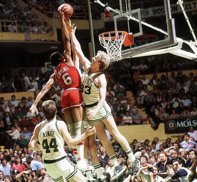 who said larry bird couldn't get up?  siphotos:  Even at 32, Julius Erving had crazy hops. In this 1982 photo, Dr. J dunks over Larry Bird and (an unpictured) Kevin McHale during the Game 7 of the Eastern Conference Championship. Philadelphia went onto win the game but lost to the Lakers in the NBA Finals. It was 35 years ago today that the 76ers paid $3 million to the Nets for the rights to Erving. (Tony Tomsic/SI) SI VAULT: The Nets get $3 million in deal to send Dr. J to 76ers