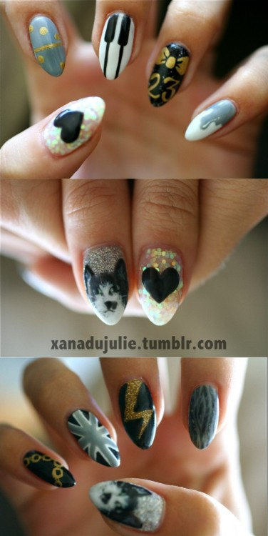 xanadujulie:  23rd Birthday Nailz! (and YES, thats my cat, Fred, on the thumb)