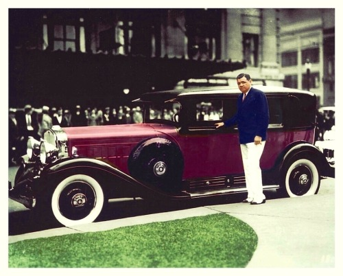 Babe Ruth & His 1931 Cadillac V-16 In Color Babe is looking rather dapper posing with his new car which probably got about two miles to the gallon. Oh the good 'ole days!