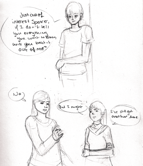 "[Image Description: A really crappy fanart comic of a scene from Karen Healey's Guardian of the Dead. Mark Nolan looks very tired. He says ""Just out of interest Spencer, If I don't tell you everything you want to know, will you beat it out of me?"" In the second panel Ellie Spencer says ""no"" in response to Mark. Next to Ellie Iris Tsang, a small young woman says ""but I might. I've still got another shoe.""]  Under our twin stares, mark sagged against the doorframe and tilted his bruised face to me. ""Just out of interest, Spencer, if I don't tell you everything you want to know, will you beat it out of me?"" I jerked back. ""No."" ""But I might,"" Iris said thoughtfully. ""I've still got another shoe.""  -Guardian of the Dead, Karen Healey"