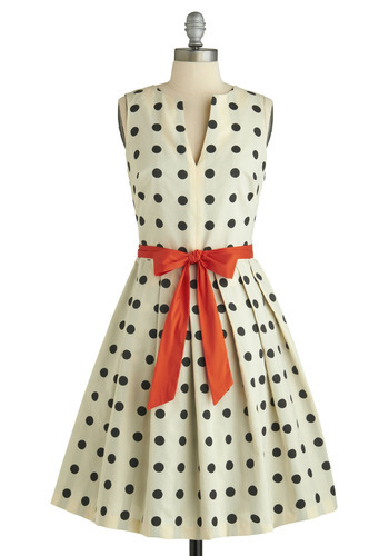 modcloth:  Get ready for a polka party in the Dice as Nice Dress by Eva Franco!   Polka dotted, pop of color and pulled in with a bow perfection.