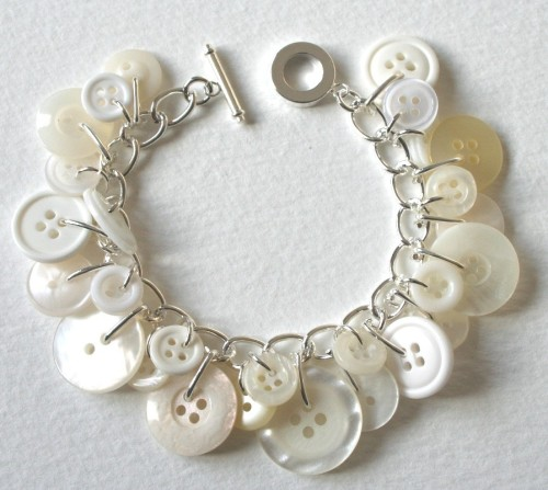 Button Bracelet Winter Wonderland White and Cream