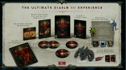 videogamenostalgia:  Diablo III Collector's Edition Announced and Detailed More BlizzCon stuff! Huzzah! Today at BlizzCon, Blizzard announced a Collector's Edition to go with the launch of Diablo III. The collection comes with the game itself, an artbook, soundtrack, and a behind-the-scenes Blu-Ray. You will also receive in-game items for Diablo III, World of Warcraft, and StarCraft II. And finally, you will also get a cool Diablo skull and a 4GB memory stick that looks like a soulstone. Now, Blizzard… about that release date.