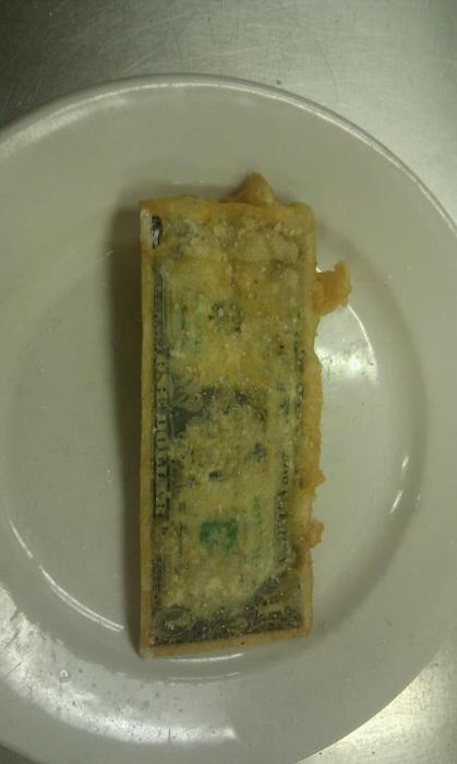 the-absolute-funniest-posts:  foodnun: a fried dollar why  this is the most american thing i've ever seen this is literally America summed up in one photo not gonna lie   Via/Follow The Absolute Greatest Posts…ever.