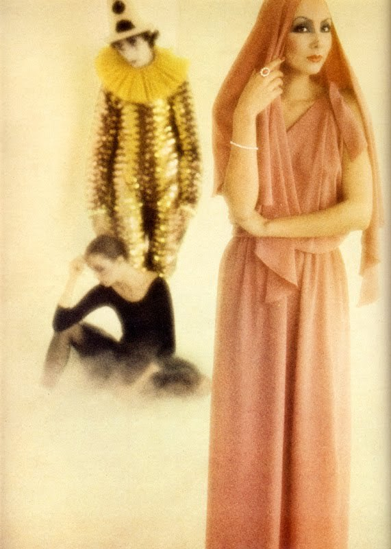 …photography by david bailey…vogue uk…december 1975…modeled by marie helvin…dress by karl lagerfeld for chloé…ring by andrew grima…bracelet by michael fishberg…