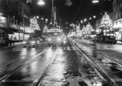 Hollywood Boulevard, Los Angeles. Christmas, 1948.
