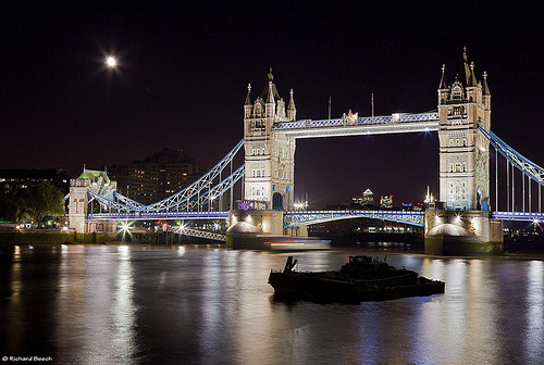 Tower Bridge After Dark, London, England (by rdb75)